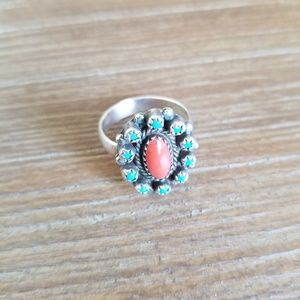Vintage Turquoise and Coral sterling silver ring